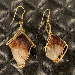 FP Gold Wire Wrapped Crystal Point Earrings